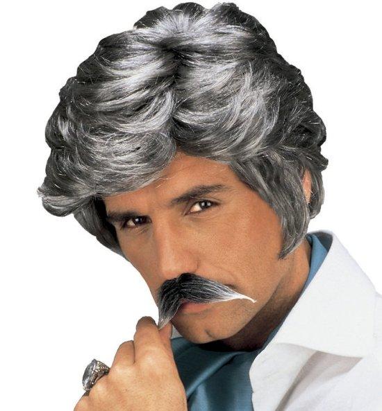 Casanova-peruk med moustasch, graa Tillbehor