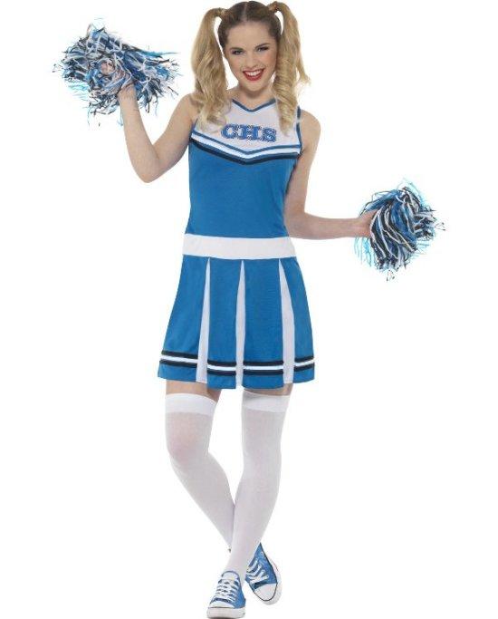 Blaa/Vit Cheerleader Maskeraddrakter