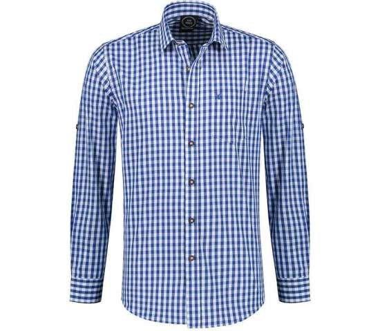 Tyrolerskjorta, blaa / vit rutig Maskeraddrakter