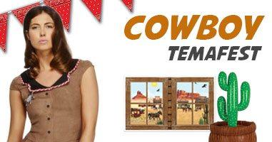 Cowboy temafest med maskeraddräkter, dekoration og festtillbehör.
