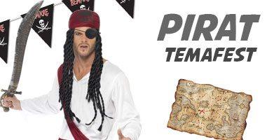 Pirat temafest med maskeraddräkter, dekoration og festtillbehör.